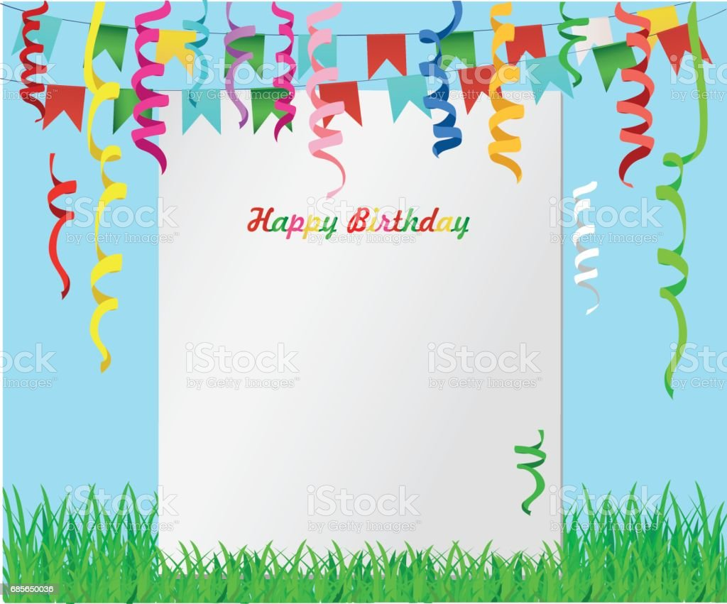 Greeting card with colorful flags and confetti on green grass. Empty form for text or advertising. Vector. Invitation to the holiday royalty-free greeting card with colorful flags and confetti on green grass empty form for text or advertising vector invitation to the holiday stock vector art & more images of anniversary