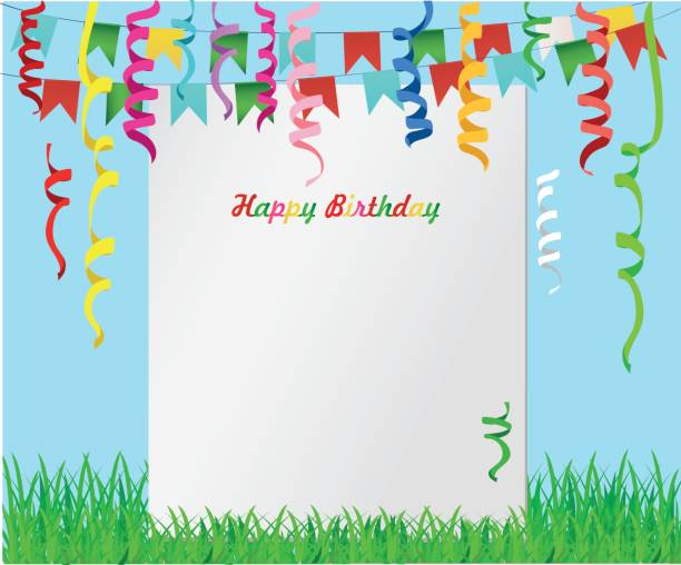 Royalty Free Empty Birthday Greeting Card With Balloons And Flags