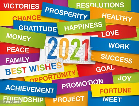 2021 greeting card with colour labels with all the wishes to wish for the new year.
