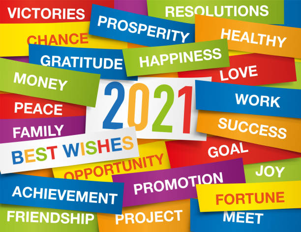 2021 greeting card with colour labels with all the wishes to wish for the new year. vector art illustration