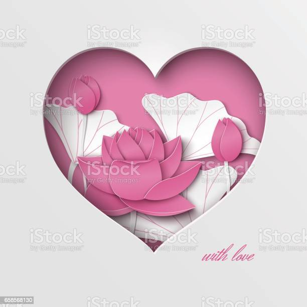 Greeting card with cut out heart and floral background with lotus on vector id658568130?b=1&k=6&m=658568130&s=612x612&h=2uhp3y eydz9x9uwbco5dbjnwm3okj8nznv2utedaks=