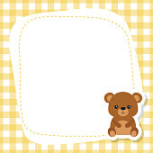 Greeting card with cute bear. Vector background.