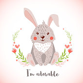 Greeting card with cute bunny in hand drawn style. Forest animal. Design element for poster, banner, t-shirt and other. Vector illustration.