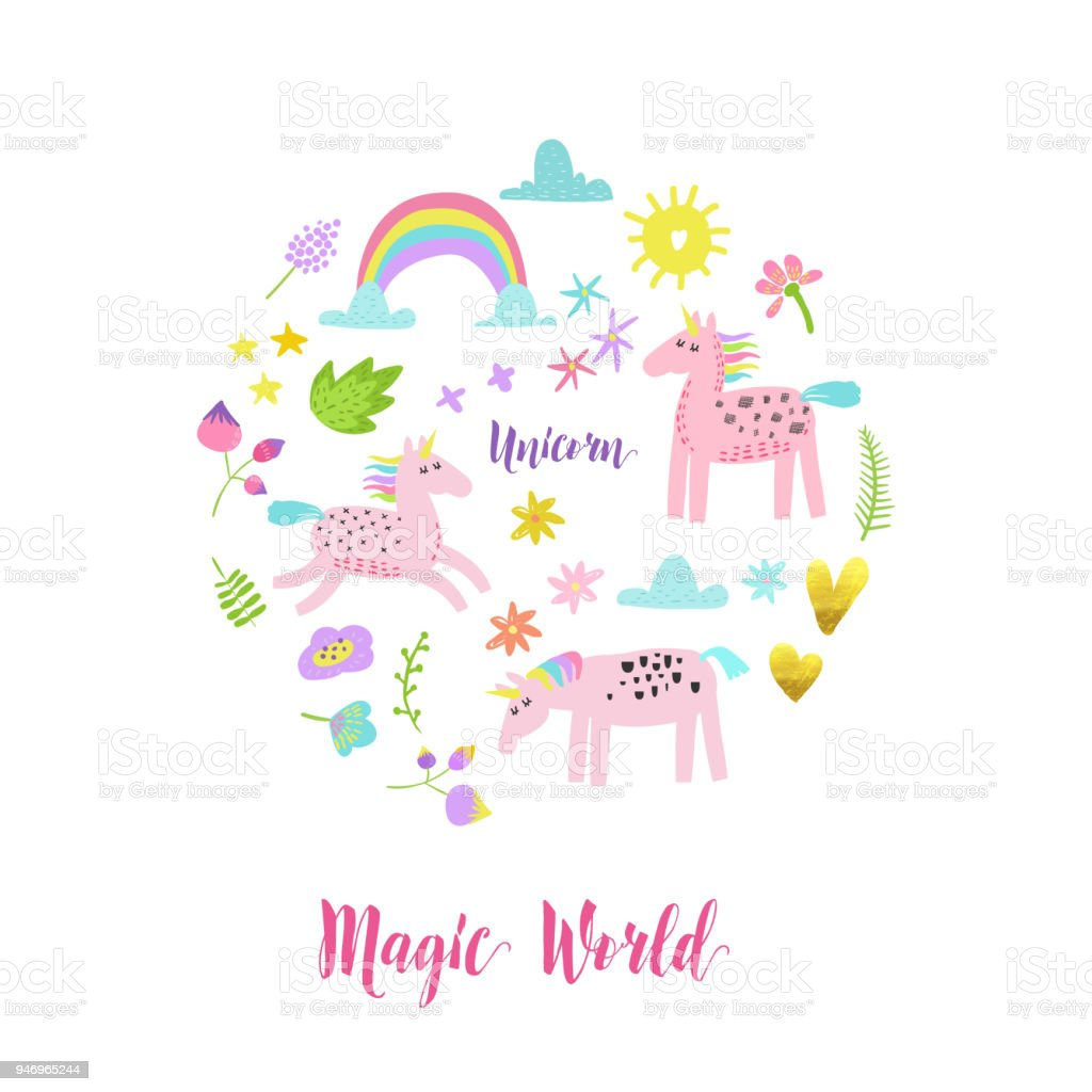 Greeting Card With Cute Magic Unicorns Rainbow And Flowers Fantasy