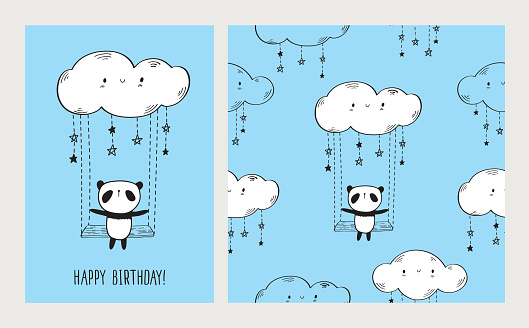 Greeting card with cute panda on the swing and seamless pattern