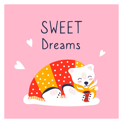 Greeting card with cute polar bear. New year poster. Funny animal lies under the covers and drinks tea. Sweet dreams.
