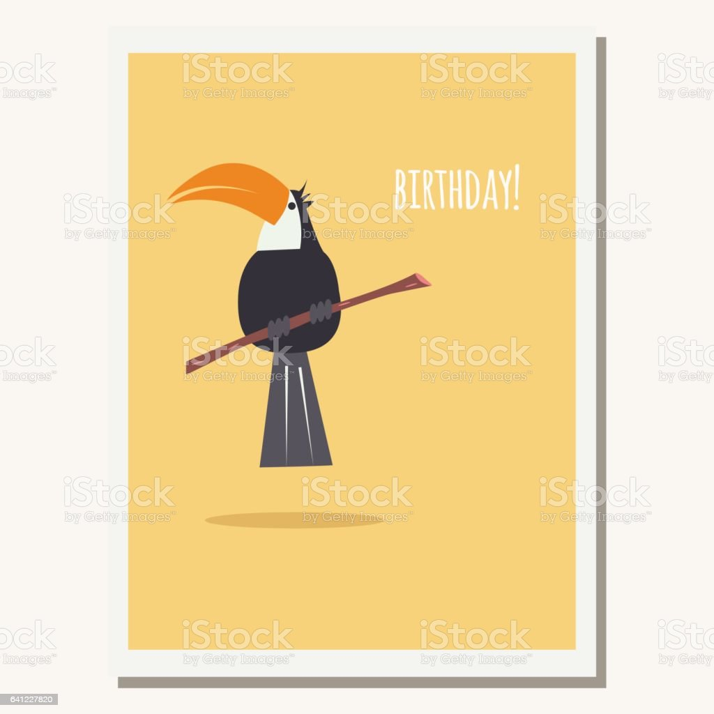 Greeting Card With Cute Toucan Parrot And Text Message Vector