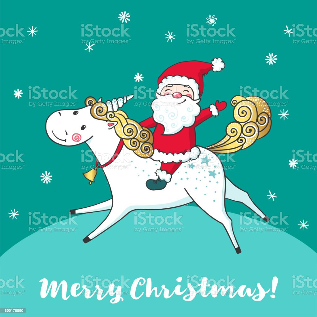 Greeting Card With Cute Unicorn And Santa Claus Stock Vector Art