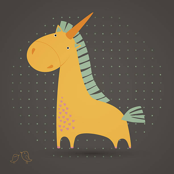 greeting card with cute unicorn vector art illustration