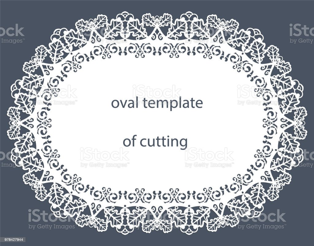 greeting card with decorative oval border doily of paper under the
