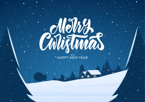 ilustrações de stock, clip art, desenhos animados e ícones de greeting card with flat cartoon scene. winter snowy landscape with cabin and santa claus. merry christmas. - cenário