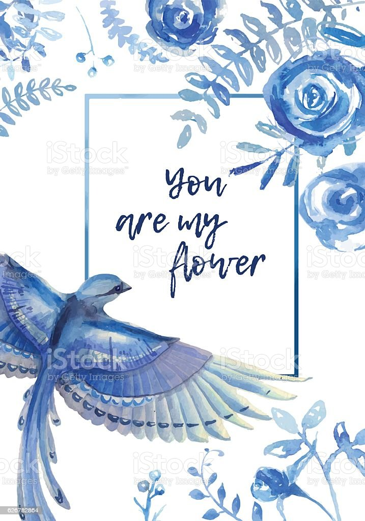 Greeting card with floral elements  and blue bird on white vector art illustration
