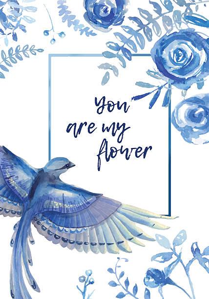 青い花 イラスト素材 Istock