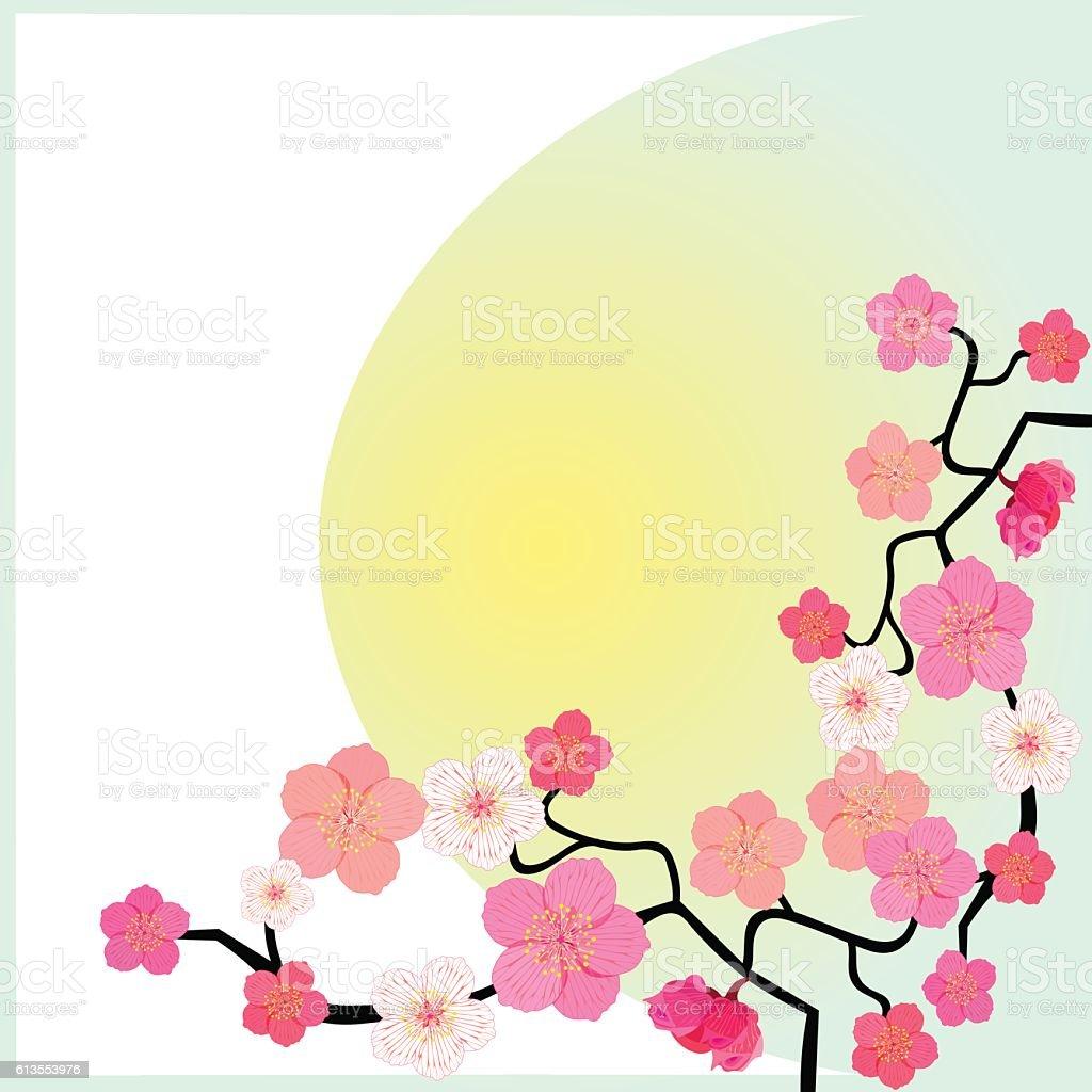 greeting card with flowering Japanese cherry. vector illustratio vector art illustration