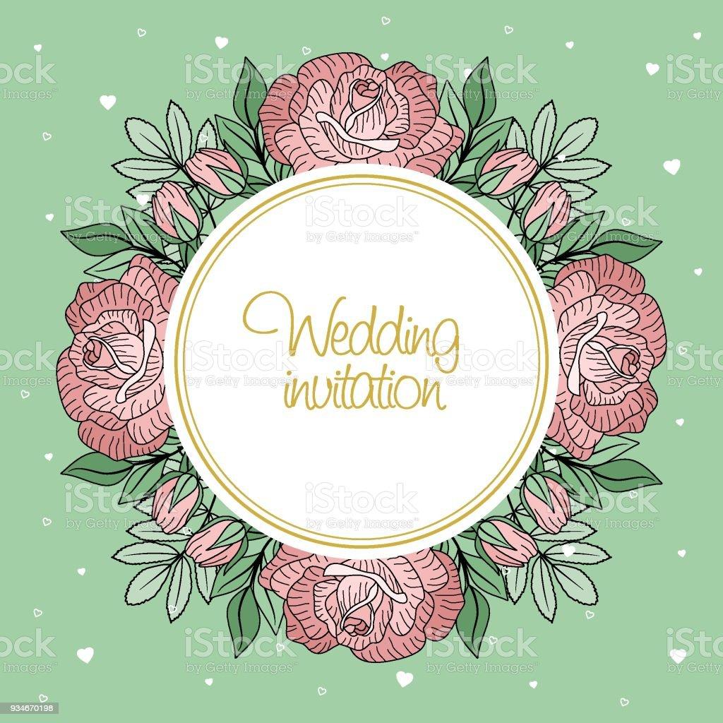 Grusskarte Mit Blumen Und Blattern Das Konzept Der Hochzeit Ornament