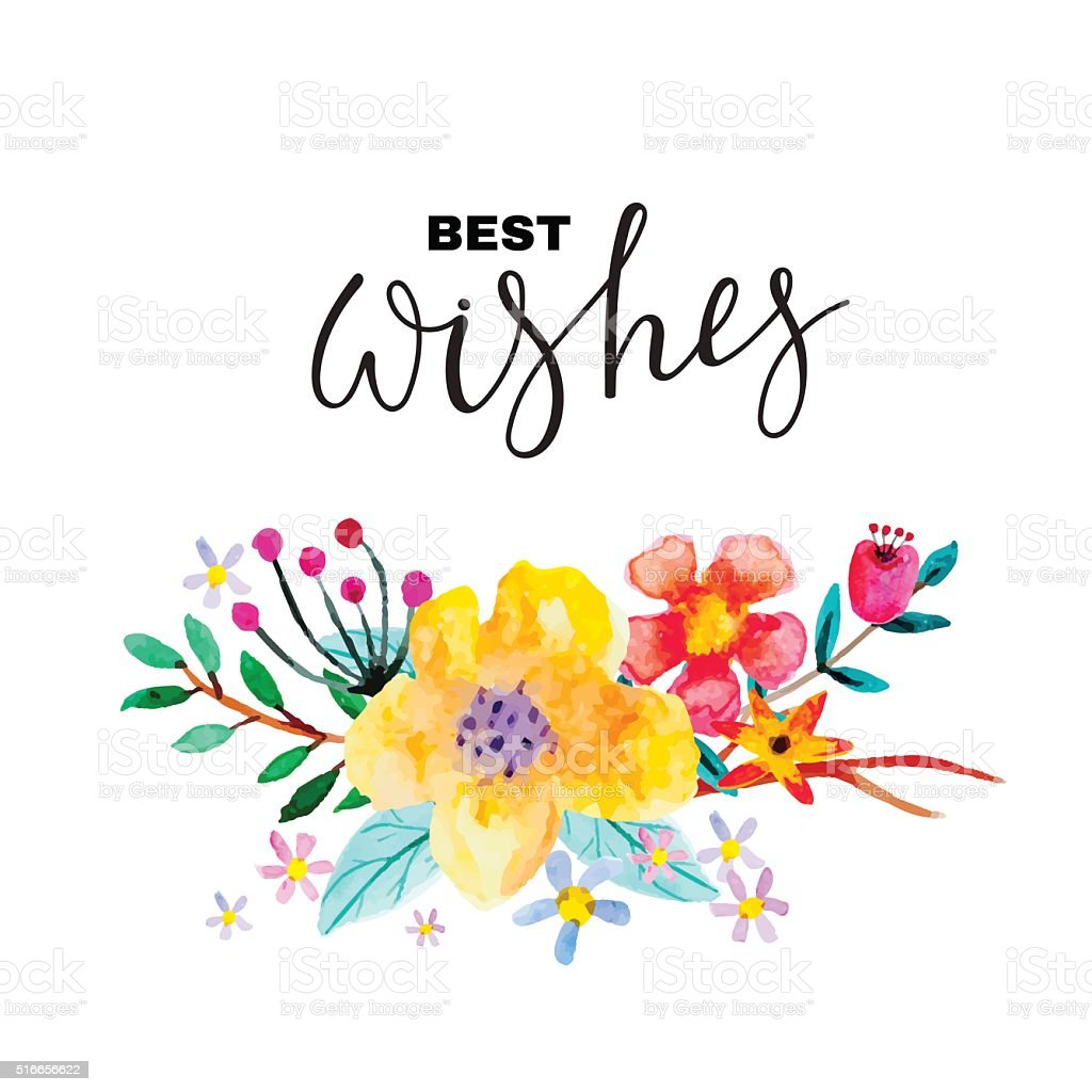 Greeting card with flowers. vector art illustration