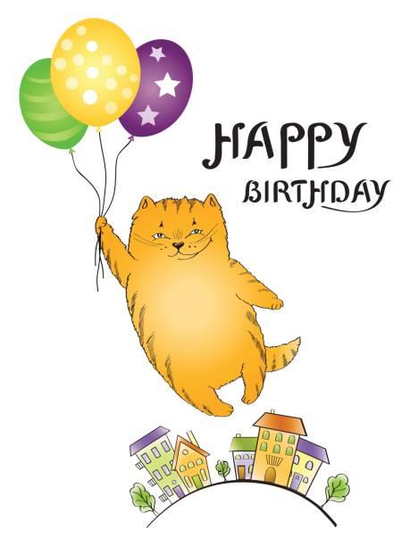 illustrations, cliparts, dessins animés et icônes de carte de voeux avec flying cat rouge avec des ballons - ballon anniversaire smiley
