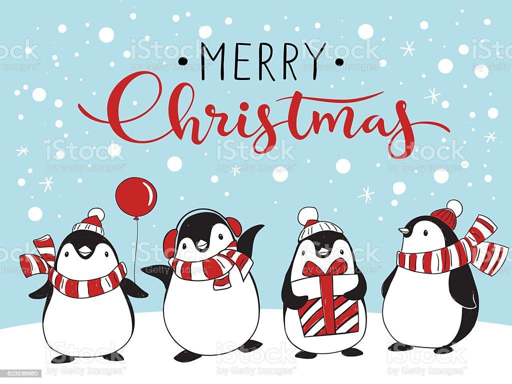 Greeting card with four cartoon penguins向量藝術插圖