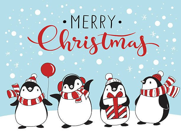 greeting card with four cartoon penguins - pinguin stock-grafiken, -clipart, -cartoons und -symbole
