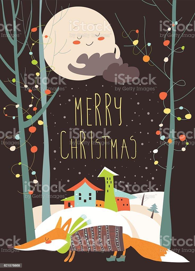 Greeting card with fox and town in snowdrifts greeting card with fox and town in snowdrifts – cliparts vectoriels et plus d'images de arbre libre de droits