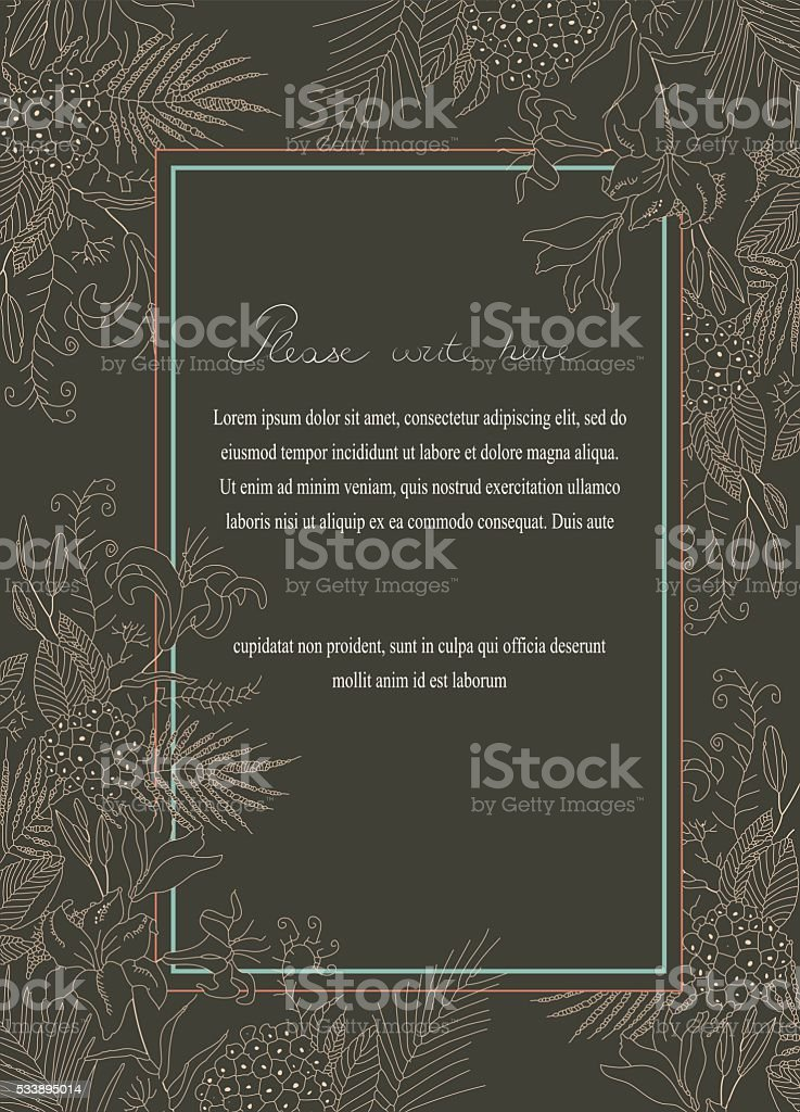 Greeting card with frame of flowers vector art illustration