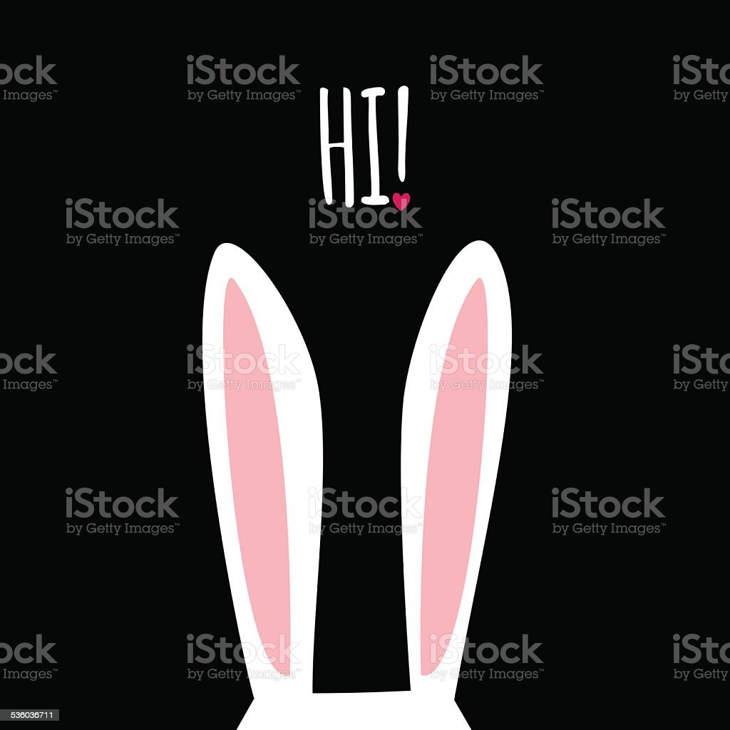 Greeting card with funny bunny. Easter Bunny Ears. vector art illustration