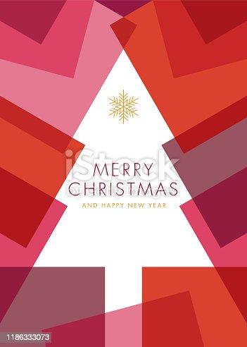 Greeting card with geometric Christmas Tree - Invitation. stock illustration