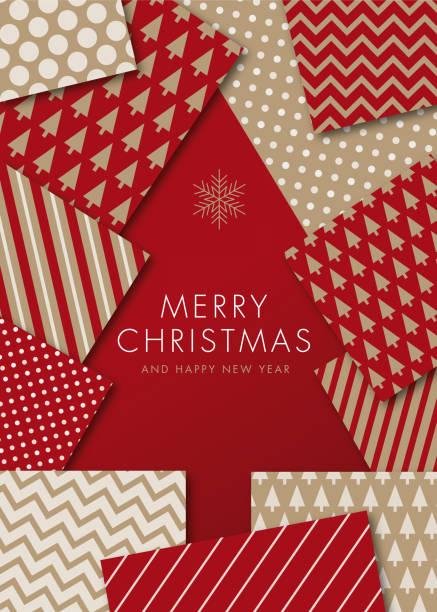greeting card with geometric christmas tree - invitation. - holiday season stock illustrations