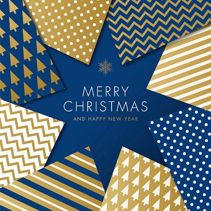 Greeting card with geometric Christmas Tree - Invitation.