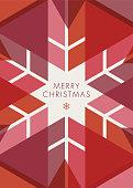 Greeting card with geometric Snowflake - Invitation
