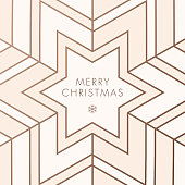 Greeting card with geometric Snowflake - Illustration