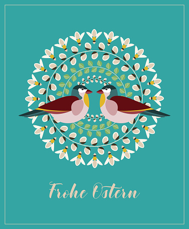 Greeting Card with German Text Frohe Ostern, in English Happy Easter. Pussy Willow Branches, Green Leaves, Bees and Couple of Birds.