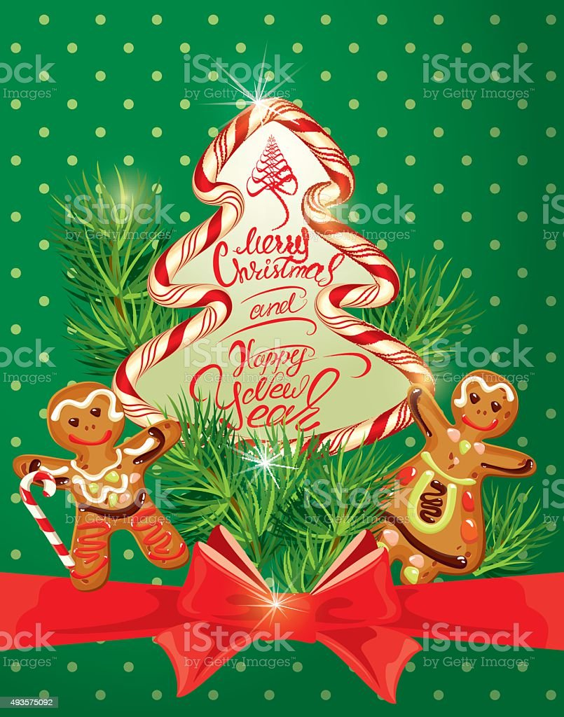 Greeting card with gingerbread merry christmas and happy new year greeting card with gingerbread merry christmas and happy new year royalty free greeting card kristyandbryce Images