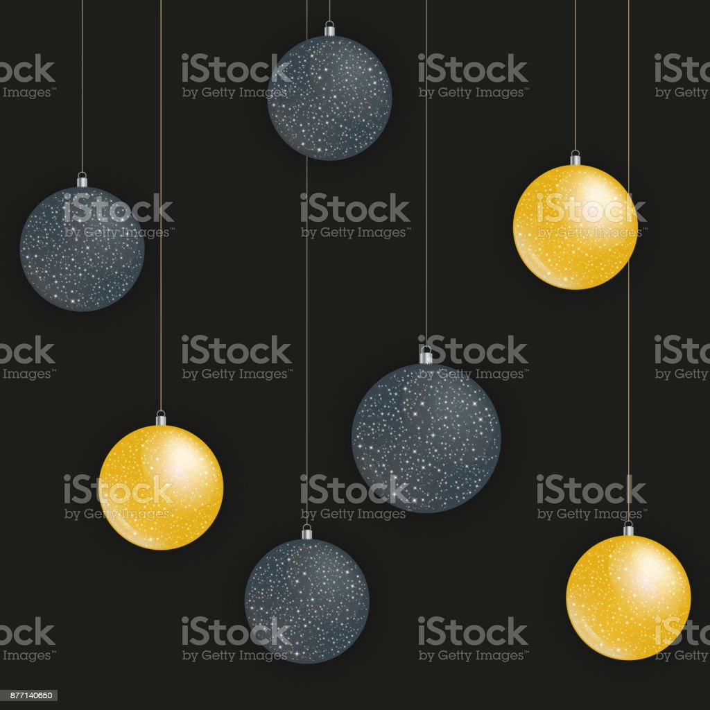Greeting card with golden and black christmas balls vector stock greeting card with golden and black christmas balls vector royalty free greeting card with golden m4hsunfo