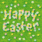 Happy easter bunny laying in the grass with six painted eastereggs around him seen from above.