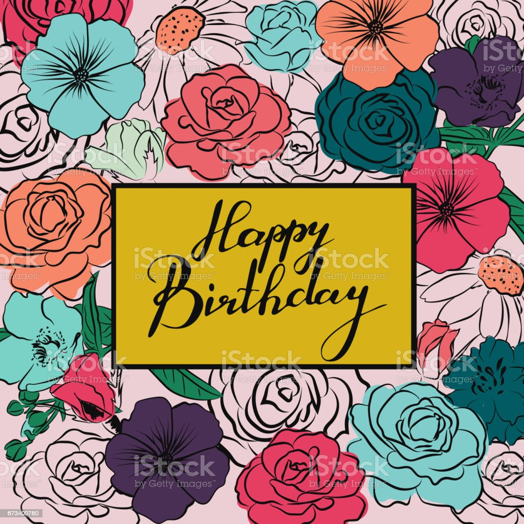 Greeting Card With Handwriting Words Happy Birthday And Colorful