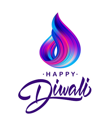 Greeting card with handwritten calligraphic lettering of Happy Diwali and colorful brush stroke