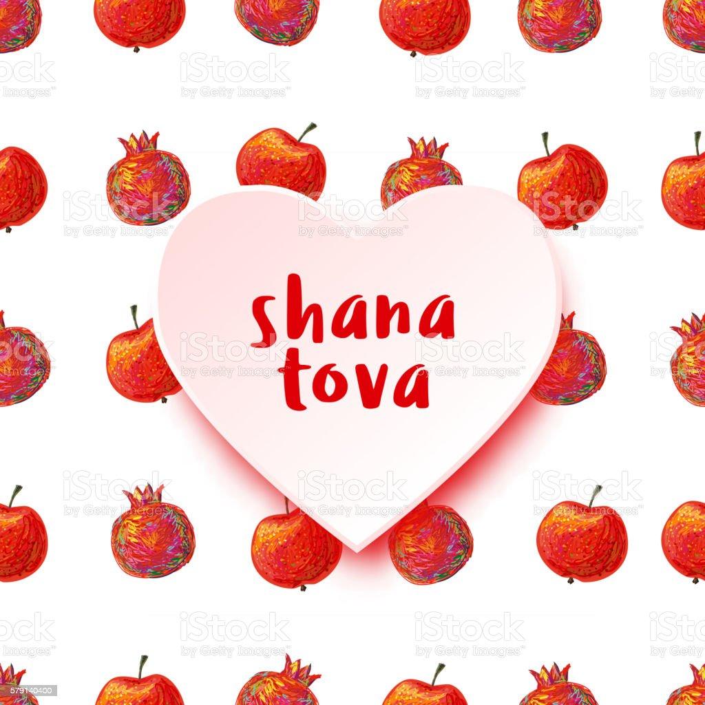 Greeting Card With Heart Symbols Of Rosh Hashanah Pomegranate Apple
