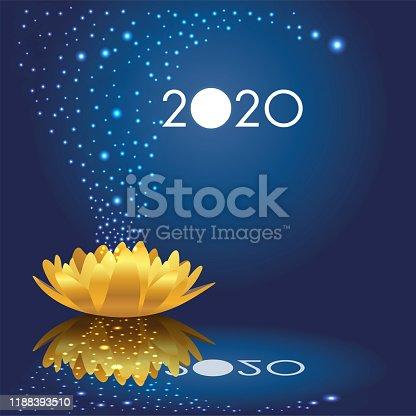 Carte de vœux 2020 poétique avec des étoiles qui sortent d'un nénuphar en or qui s'ouvre sur une nouvelle année féerique et poétique.