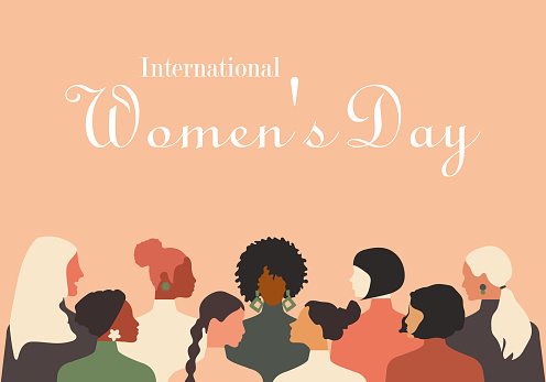 Greeting card with International Women's Day. Different nationalities of women stand together. Delicate pink coral background. Modern vector graphics.