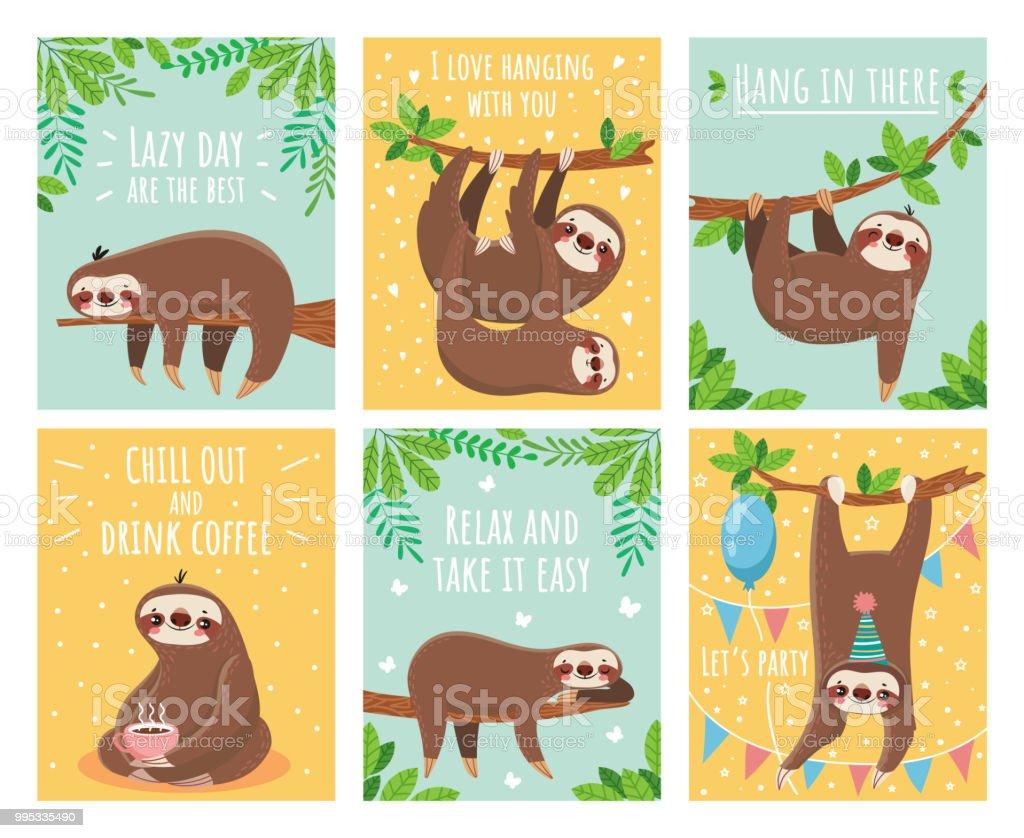 怠惰なナマケモノのグリーティング カード。動機とお祝い本文漫画かわいいナマケモノ カード。眠り動物イラスト セット ロイヤリティフリー怠惰なナマケモノのグリーティング カード動機とお祝い本文漫画かわいいナマケモノ カード眠り動物イラスト セット - アメリカ合衆国のベクターアート素材や画像を多数ご用意