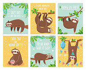 Greeting card with lazy sloth. Cartoon cute sloths cards with motivation for party sleepy pajama child t-shirt and congratulation birthday text. Slumber branch fun animals colorful illustration set
