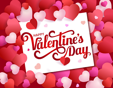greeting card with lettering Happy Valentine's Day