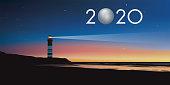 Carte de voeux 2020 avec le concept du phare symbolisant le point de repère permettant de suivre la bonne direction pour relever les défis et les couronner de succès.