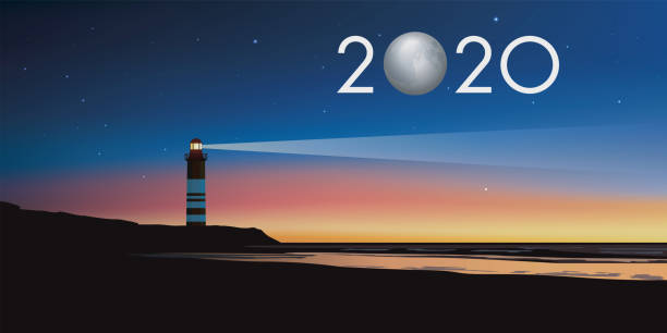 2020 greeting card with lighthouse concept serving as a landmark in the twilight vector art illustration