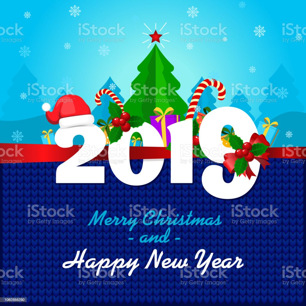 greeting card with merry christmas and a happy new year merry 2019 year royalty