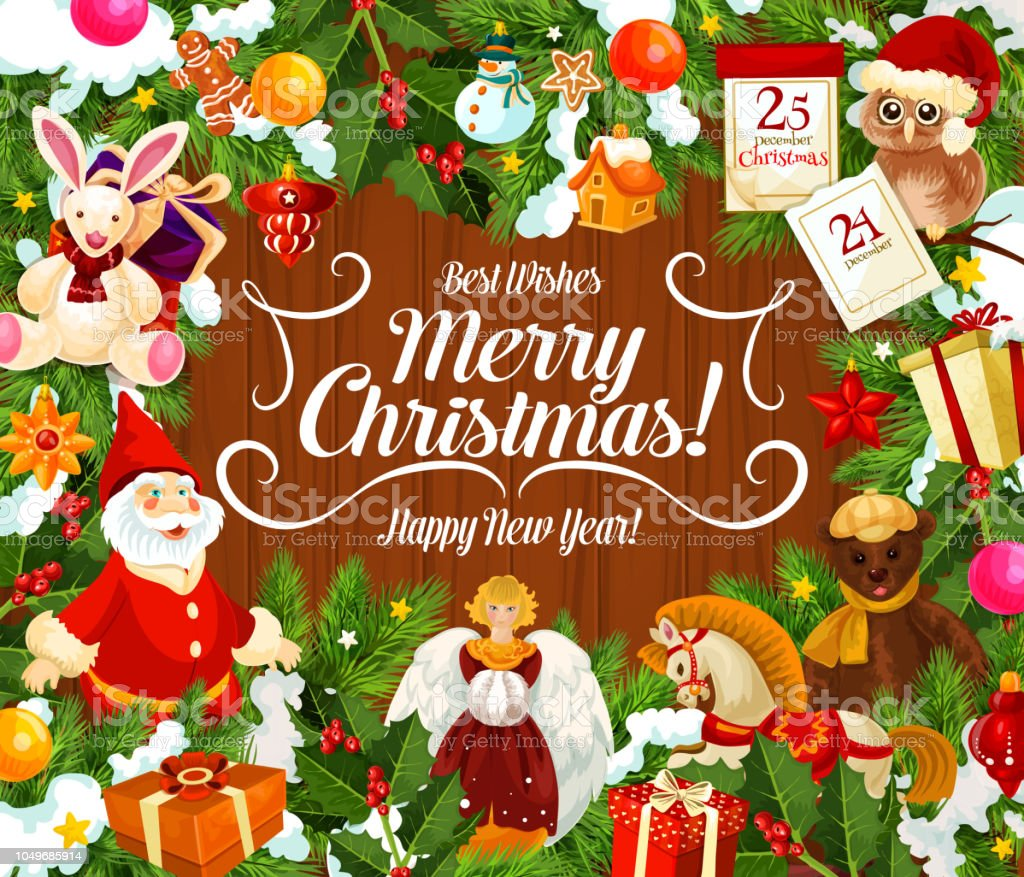 Merry Christmas Wishes Greeting Cards.Greeting Card With Merry Christmas Wish And Gifts Stock