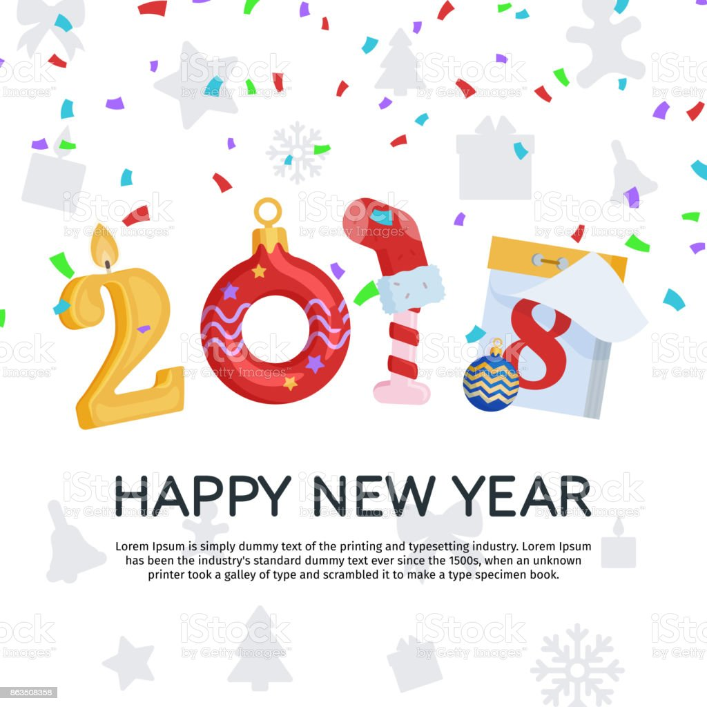 Greeting Card With New Year And Christmas 2018 Happy New Year