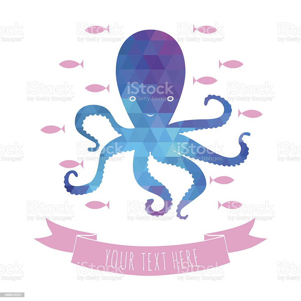 greeting  card with octopus vector art illustration