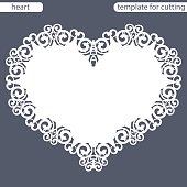 Greeting card with openwork border, paper doily under the cake, template for cutting in the form of heart, valentine card,  wedding invitation, decorative plate is laser cut,  vector illustrations.